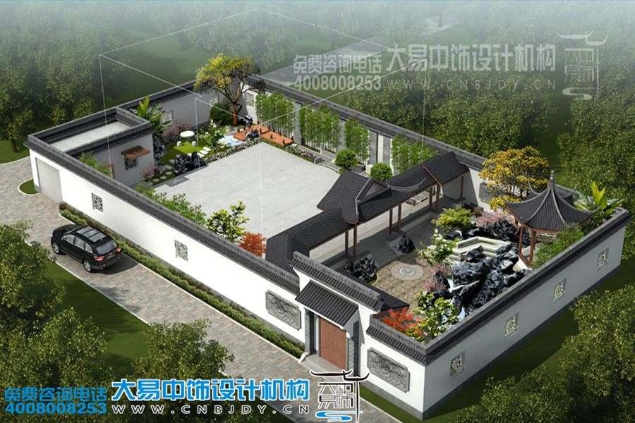 郑州长青路别墅园林设计效果图,体验豪华别墅园林中式装修