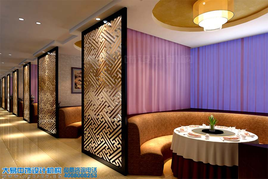 天津简约中式风格会所设计效果图