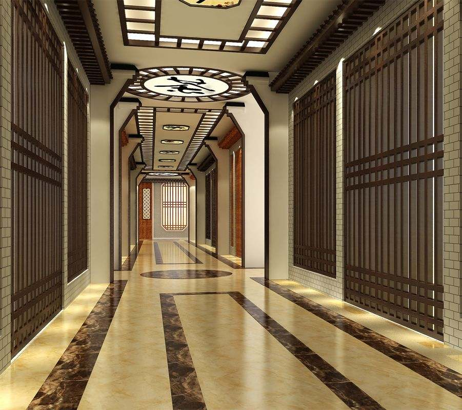 大连简约中式风格茶城中式装修效果图