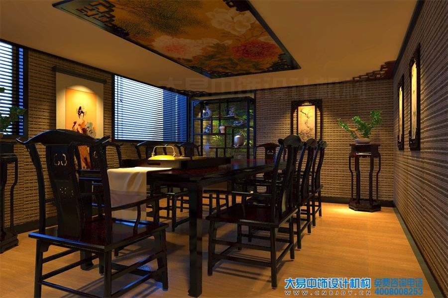 莲花桥新中式茶楼中式装修效果图,感受灵动的诗意。