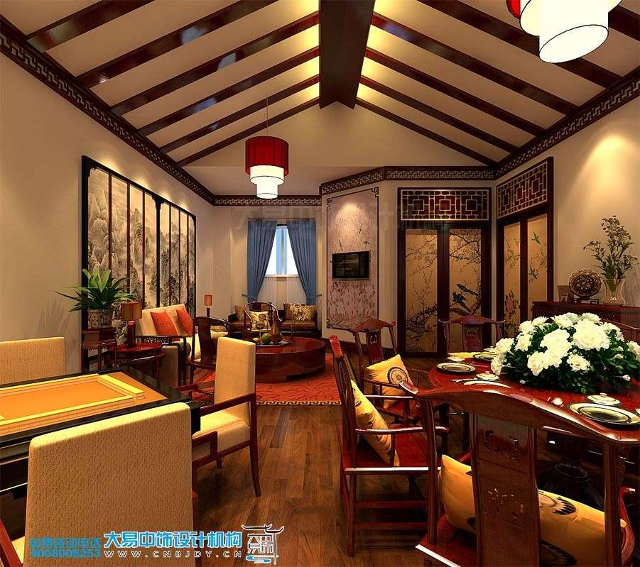 北京简约中式餐饮会所中式装修效果图