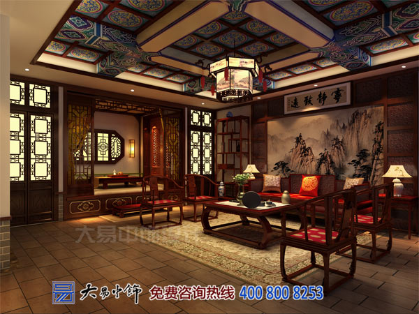 茶楼古典中式风格设计以纯色醇香装修元素构建