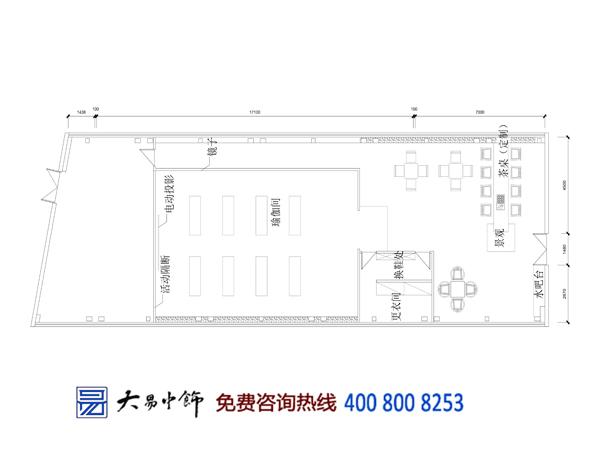 北京五棵松瑜伽馆中式设计装修效果图