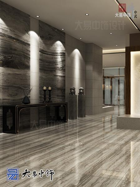 新中式餐厅设计采用祥云为墙景清新舒雅的中式装修效果